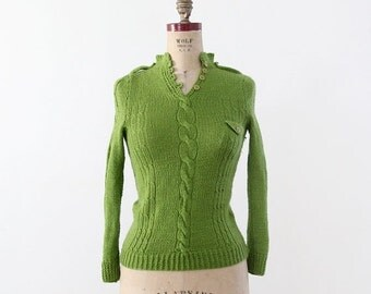 SALE 1970s green henley sweater with epaulets
