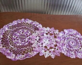 Vintage Handmade Shades of Purple Crochet Doilies - set of 3 - Violet - Lavender - Granny Chic - Doily - Cottage Chic - Boho - Needlework