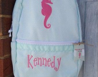 Personalized Seersucker Backpack - Aqua Seahorse Toddler - Girls