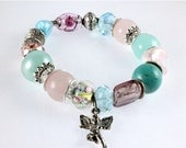 ON SALE Pink and Blue Guardian Angel Stretch Bracelet, Mixed Media, Multi Bead