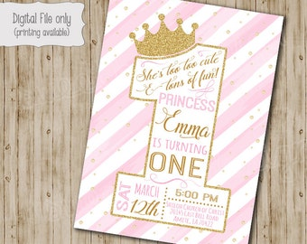 First Princess Birthday Invitation  / Gold Glitter Birthday Invitation / 1st Girl's Birthday Invitation / One, Pink, White, Gold, watercolor