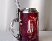 Vintage German/Bohemian Crystal Beer Mug Ruby Red Crystal Flagon Mug Pewter Lid Man Cave Gift for Dad Vintage 1990s