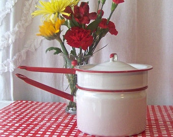 Vintage Enamelware Double Boiler White With Red Trim Shabby Cottage Decor Mid Century Kitchen 1960s