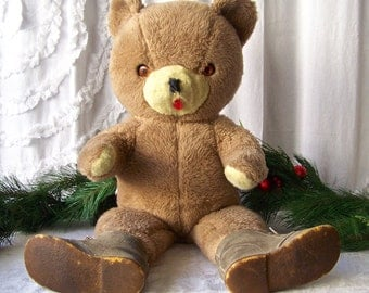 Vintage Teddy Bear Animals Of Distinction Knickerbocker Toy Company 1970s Large Stuffed Bear With Boots
