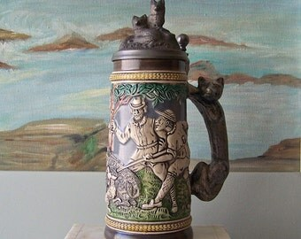 Vintage Gerz Beer Stein Hunting Tankard Fox Handle Pewter Lid Signed Numbered 1983 Limited Edition