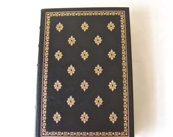 Vintage Michel De Montaigne Essays 22k Gold Accents Full Leather Bound Franklin Library Hardcover Book Printed 1980