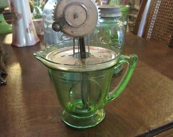 Antique Vaseline Glass Mixer or Egg Beater