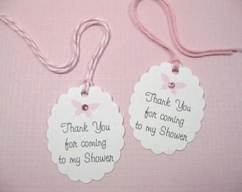 10  Pink Nail Polish Thank You Tags - Baby Shower Tags - Butterfly Tags - Baby Girl Tags - Pink Baby Shower Tags - Small Tags