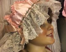 Antique Victorian Boudoir CROWN  Night Bonnet Cap Nightcap Hat Bobbin Type Lace Pink Silk Ribbon Work Ribbonwork H42