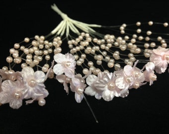 Vintage pink flower and pearl beaded spray on illusion wire