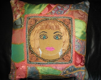 Embroidered  Crazy Quilt Woman Face Pillow cover .Unique green, pink, gold  cushion cover