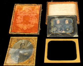Antique Secret Daguerrotype Civil War Era Girl & Two Twin Sisters Reading