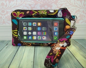 cell phone wristlet, iphone wristlet wallet, Touch Screen Wristlet, smartphone fabric wristlet case, birds of norway