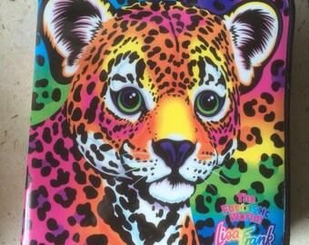 Vintage the fantastic world of Lisa Frank Hunter the Tiger 1990s 3 ring binder rainbow leopard
