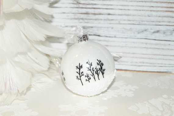 Our Most Popular Hand Painted Christmas Ornament, Aspen Snow Scene with Snow falling and Glitter, Glass Christmas Ornament, White Ornament