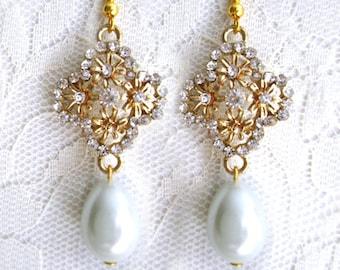 Retro Rhinestone Crystal Pearl Earrings, Hollywood Dangle Gold Earrings, Drop Teardrop, Glamor, Bridesmaid Gift Elegant, Evening Drop Pearl