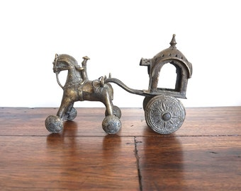 Bronze Horse with rider and chariot antique toy