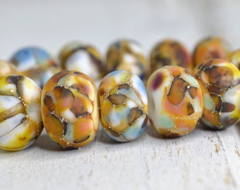 eclectic autumn lamp work beads (12)... SRA handmade, lampwork beads, fall colors, multicolor beads set of (12) for making jewelry 100616-2