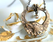 Phoenix Saphiret Necklace - Vintage Brass Bird - Tiny Antique Saphiret Glass Charm