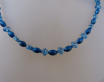 Tiny Silver dot stars on blue with shiny blue beads necklace