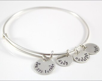 Personalized Bangle Bracelet, Sterling Silver Bracelet, Hand Stamped Mom Bracelet | You Are Loved Family Bracelet with Custom Name Charms
