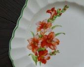 Set 10 Plates, Small Square. Lily Flower Dessert Plates. Sebring Pottery Ivory Porcelain. Scalloped Edge. Vintage 1930s. White Orange Green.