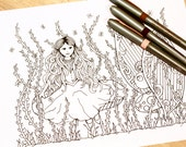 Fantasy Fairytale Adult Coloring Page Kids Original Art Therapy Princess Mushroom Creature