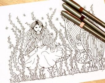 Fantasy Fairytale Adult Coloring Page Kids Original Art Therapy Princess Mushroom Creature