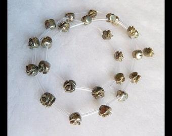 SALE,Carved Pyrite Flower Gemstone Loose Bead,8x6x8mm,17.80g