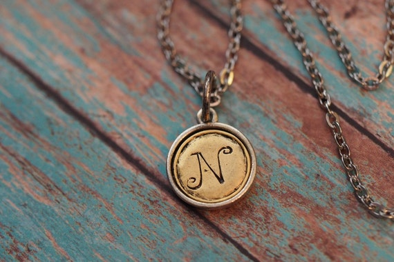 Stamped Initial Monogram Two Tone Necklace Mother's Day