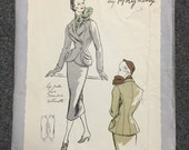 50s Vogue Paris Original Suit Pattern 1096 - Molyneux - Bust 34 - Hip 37