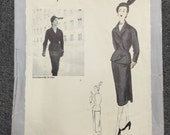 50s Vogue Paris Original Suit Pattern 1159- Patou - Bust 34 - Hip 37