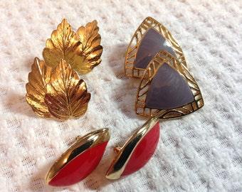 Vintage Stud Post Earrings, pierced earrings, gold tone earrings, set of three post earrings