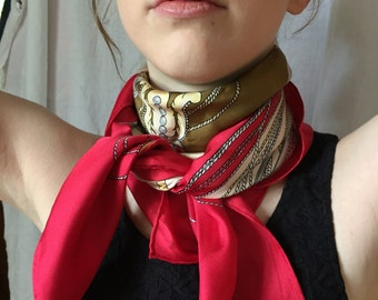 Red Silk Scarf, Crest image, equestrian clothing, knights soldier, shield and sword, 100% silk, unique sixties scarf, vintage present