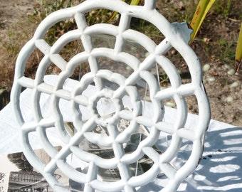 Shabby Chic Vintage French Round White Cast Iron Trivet. Home Decor. Under Plate. Spiderweb Design. SPT Team. Cottage Chic. Autumn Finds
