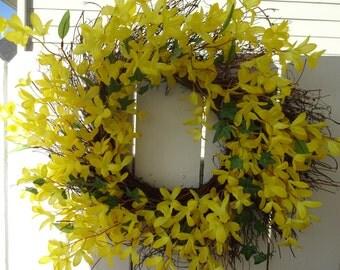 Forsythia Wreath   Summer Wreath  Twig Wreath  Faux Wreath  Outdoor Wreath  Door Wreath  Yellow Wreath  Forsythia Wreath