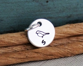 Hand Stamped Jewelry - Personalized Charm - One Teeny Flat Tag with design