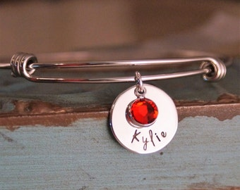 Adjustable Bangle with name tag - Charm bracelet with name and birthstone - Hand stamped personalized bracelet with birthstone
