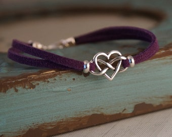 Infinity Heart Charm Bracelet - Suede Bracelet with Sterling Silver Charm - Hearts charm