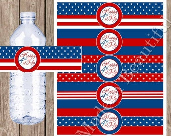 4th of July party printable, Red, white and blue wate bottle label, 4th of July drink label, 4th of July party decor, INSTANT DOWNLOAD