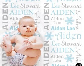 Snowflake Name Blanket, Holiday Baby Blanket, personalized blanket, keepsake blanket, personalized blanket, choose colors