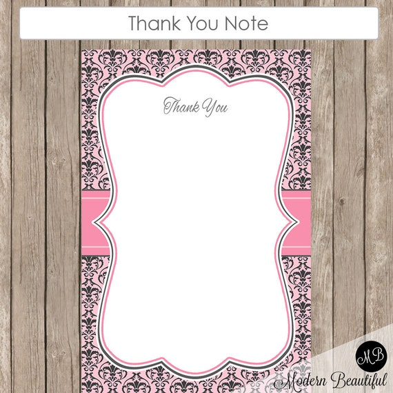 baby shower thank you baby shower damask thank you note damask1