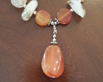 Carnelian and Citrine Crystal  Necklace. ..16 inches