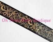 "3"" Black Gold Holographic Fancy Swirl Ribbon *Cheer Bow Ribbon*"
