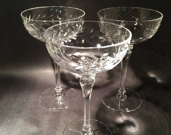 5 Crystal Champagne Coupes with Laurel Leaf Design