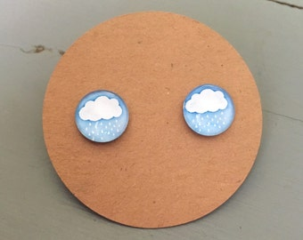 Cloud Earrings with rain drops, on titanium posts, hypoallergenic
