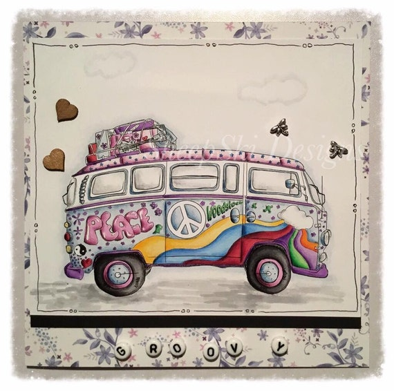 INSTANT DOWNLOAD Digi Stamp Hippie Flower Power Peace Van ~  Image No.312 & 312b  by Lizzy Love