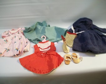 Vintage Handmade Doll Clothes, 8 Pieces of Doll Clothing, Vintage Doll Clothes for 15 inch Doll, Doll Accessories, Doll Parts, Doll Crafting