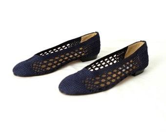 size 9 womens WOVEN sandals slip on summer NAVY blue flats