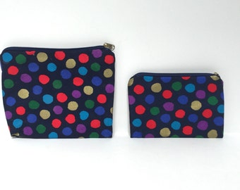 vintage MAKEUP polka dot pouch zipper bag set